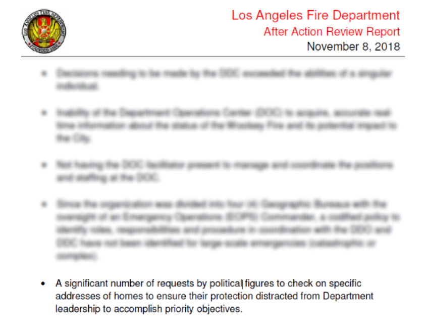 LAFD Woolsey After-Action Review Report excerpt