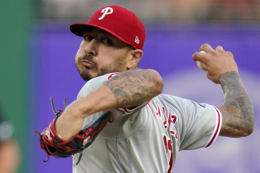 Vince Velasquez, signed by the Padres on Wednesday, pitches earlier this season for the Phillies.