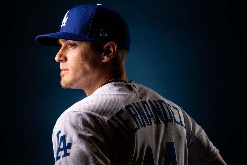 Dodgers infielder Kiké Hernández poses for a portrait during spring training photo day Feb. 20, 2020, in Phoenix.