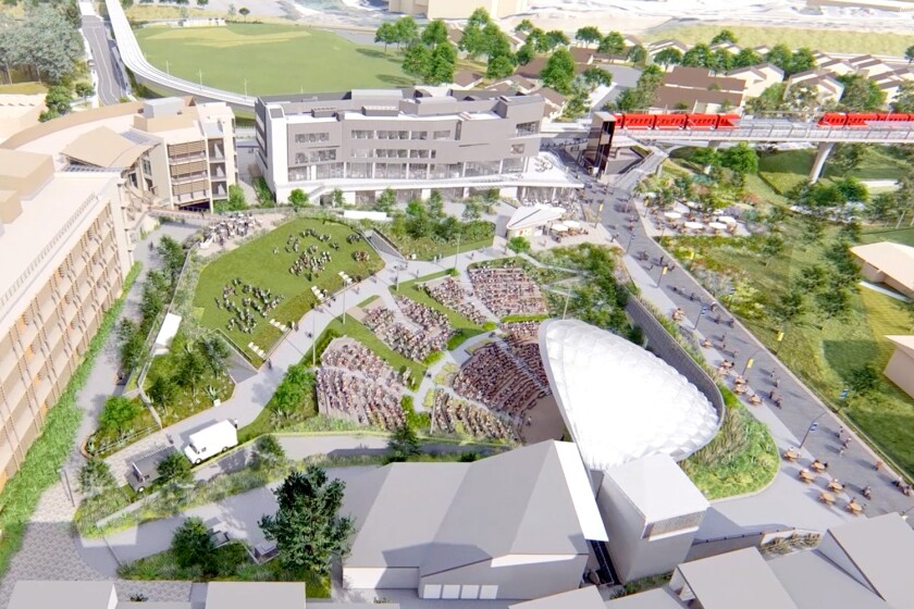 A rendering depicts a new 2,850-seat amphitheater that UC San Diego says will stage more than 300 performances a year.