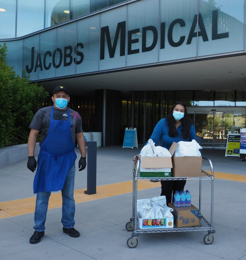 The San Diego French-American School and Girard Gourmet of La Jolla deliver meals to UC San Diego's Jacobs Medical Center.