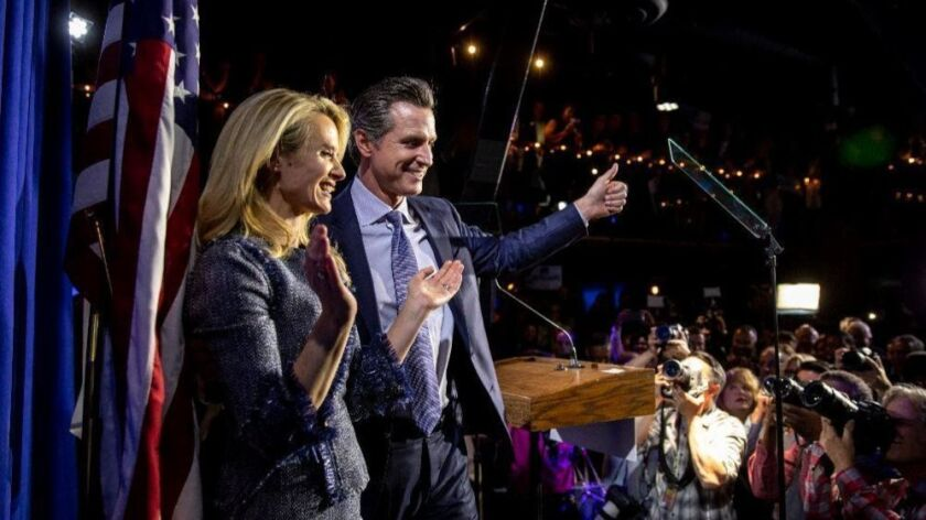California democratic candidate for governor, Lt. Gov Gavin Newsom, joined by his wife Jennifer Siebel Newsom, spoke at a vitctory party at Verso, in San Francisco on June 5. 2018.