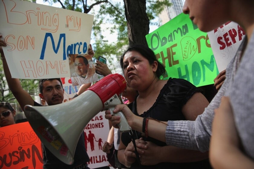 Natalia Mendez protests the detention of her son Marco Saavedra last month in New York.