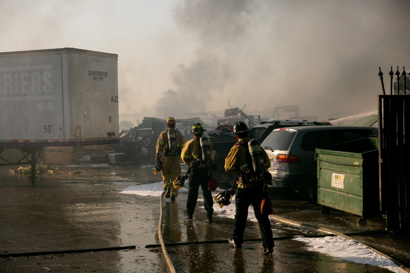 Firefighters attempt to contain the fire called the Caliente Fire on August 1, 2019