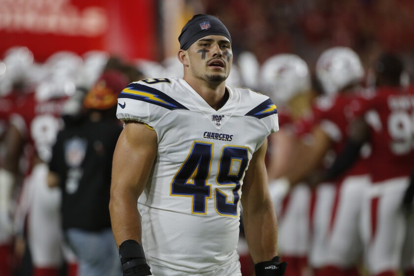 Chargers linebacker Drue Tranquill during the first half of a preseason game against the Arizona Cardinals on Aug. 8 in Glendale, Ariz.