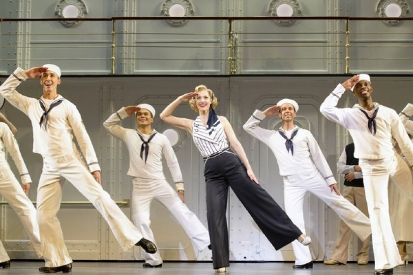 """Ryan Steer, Bobby Pestka, Rachel York, Jeremy Benton and Kristopher Thompson-Bolden in """"Anything Goes,"""" playing now at Segerstrom Center for the Arts."""