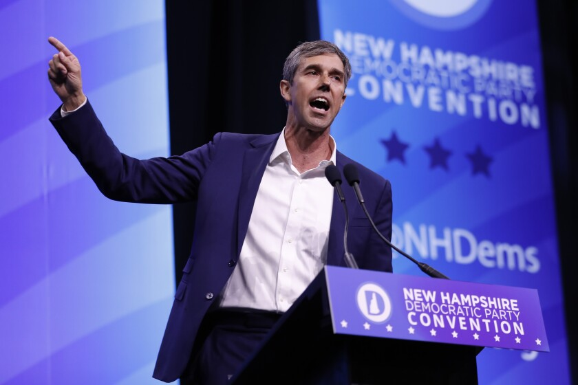 FILE - In this Sept. 7, 2019 file photo, Democratic presidential candidate former U.S. Rep. Beto O'Rourke, D-Texas, speaks during the New Hampshire state Democratic Party convention, in Manchester, NH. O'Rourke's call to confiscate the millions of AR- and AK-style firearms in the U.S. raised some big questions. How might it be possible to round up all the millions of those rifles in circulation? Could it be done safely? And would it solve the gun violence problem? (AP Photo/Robert F. Bukaty)