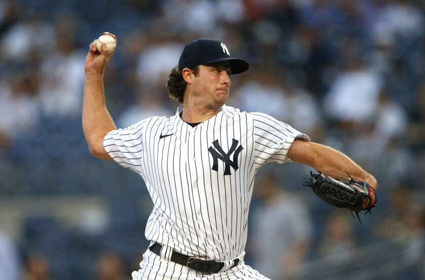 New York Yankees starting pitcher Gerrit Cole throws against the Los Angeles Angels during the first inning of a baseball game Monday, Aug. 16, 2021, in New York. (AP Photo/Noah K. Murray)