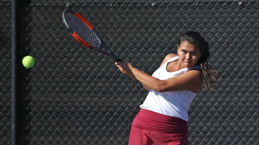 Laguna Beach High's Vanessa Gee, seen hitting a backhand against Edison on Oct. 9, helped the Breakers stun top-seeded Long Beach Wilson 11-7 on Wednesday and advance to the CIF Southern Section Division 3 championship match.