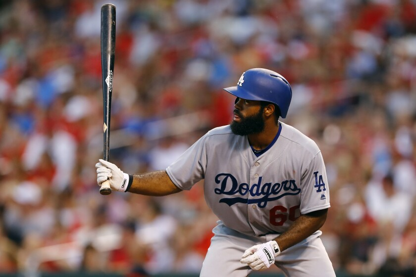 Dodgers outfielder Andrew Toles bats during a July 24, 2016, game against the St. Louis Cardinals.