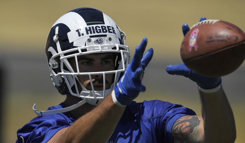 Rams tight end Tyler Higbee makes a catch during practice in Thousand Oaks.