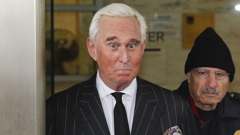 Roger Stone, a longtime political advisor to President Trump, leaves court in Washington on Feb. 1.