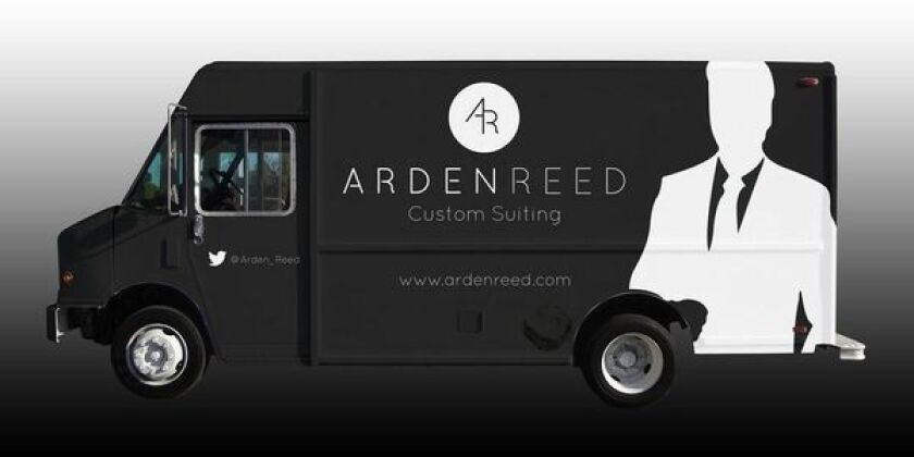 Arden Reed's custom tailoring truck, which is coming to West Hollywood and Los Angeles.
