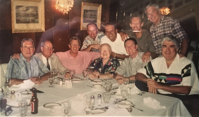 For the past 25 years former KFMB radio executive Paul Palmer, far right, met with a group of radio, news and advertising executives quarterly for lunch at Old Trieste. Five of this original core group of 10 friends, pictured above, have passed away, but the group since has added new members. Now that the restaurant has closed, they have to find a new luncheon locale.