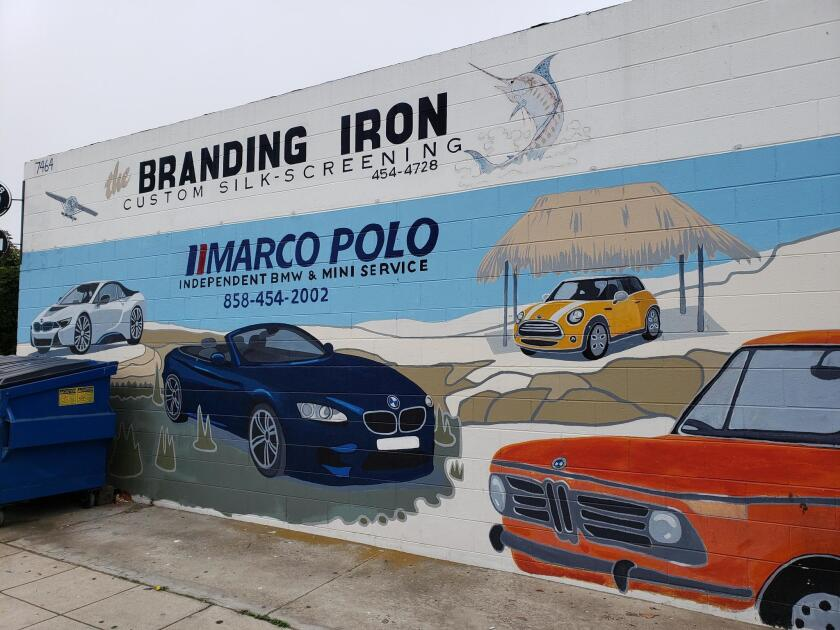 The mural for Marco Polo BMW service shop at 7464 Draper Ave., La Jolla.