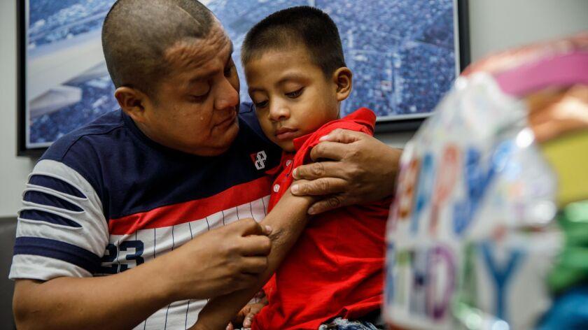 LOS ANGELES, CALIF. -- SATURDAY, JULY 14, 2018: Guatemalan asylum seeker Hermelindo Che Coc visually
