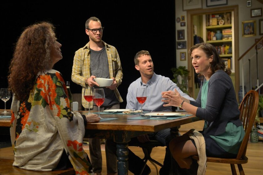 """Lee Roy Rogers, Thomas DellaMonica, Russell Harvard and Meghan O'Neill in La Jolla Playhouse's production of """"Tribes."""""""