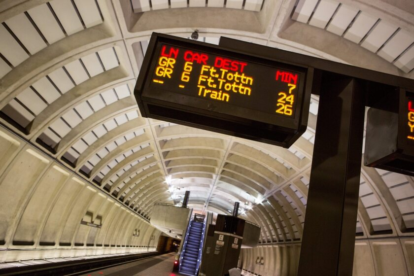The Georgia Avenue-Petworth Metro station platform in Washington, D.C., after a weather shutdown in January. The entire subway system is shutting down Wednesday for inspections.
