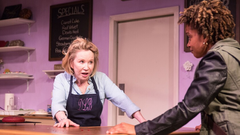 "Debra Jo Rupp, left, reprises her starring role in a remount of Bekah Brunstetter's LGBT-themed comedy drama ""The Cake"" at the Geffen Playhouse. With Carolyn Ratteray."