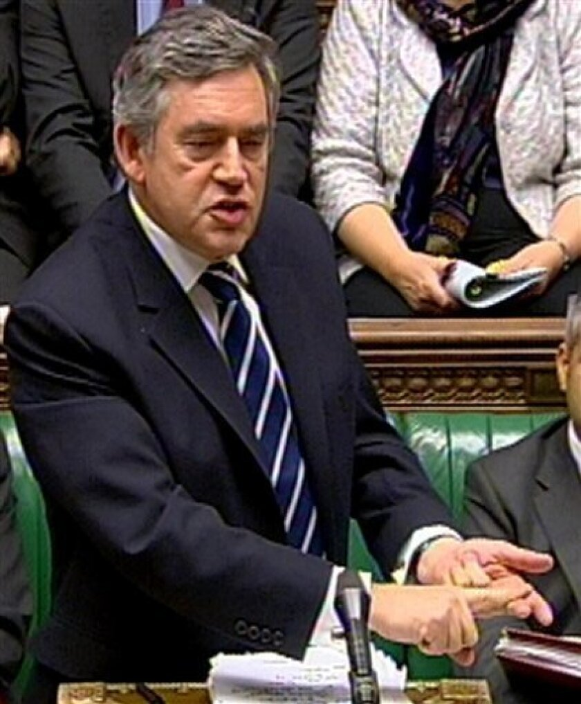 """Britain's Prime Minister Gordon Brown speaks during Prime Minister's Questions in this image taken from TV in the House of Commons, London Wednesday Dec. 2, 2009. When it comes to Hollywood stars, Britain's prime minister can't tell a Reese from a Renee. Gordon Brown was asked in the House of Commons to congratulate Reese Witherspoon, who visited Parliament Wednesday in her role as a campaigner against domestic violence. Brown replied that he was """"grateful that Renee Witherspoon is leading this campaign."""" He said the actress had spoken movingly at the funeral of director Anthony Minghella. Renee Zellweger starred in Minghella's """"Cold Mountain"""" and spoke at his memorial service last year. Witherspoon is the Academy award-winning star of """"Walk the Line"""" and """"Legally Blonde."""" (AP PHhoto/PA)"""