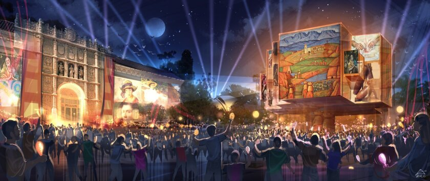 Lighting up the walls of the museums lining El Prado in Balboa Park is under consideration for the 2015 centennial celebration.