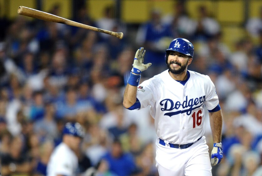 Dodgers hitter Andre Ethier mid game.