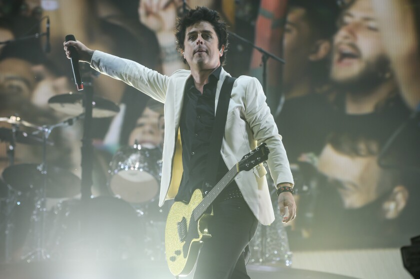 Billie Joe Armstrong of Green Day is shown at his San Diego-bound band's recent Wrigley Field concert in Chicago.