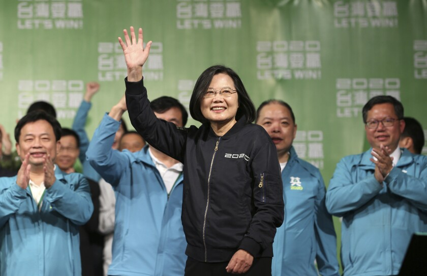 Taiwanese President Tsai Ing-wen celebrates her reelection victory with supporters in Taipei on Jan. 11.