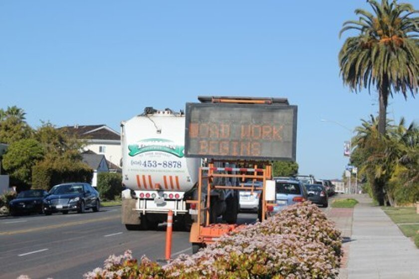 Electronic signage indicates Road Work will begin Feb. 26, though it will actually begin Feb. 28. Ashley Mackin