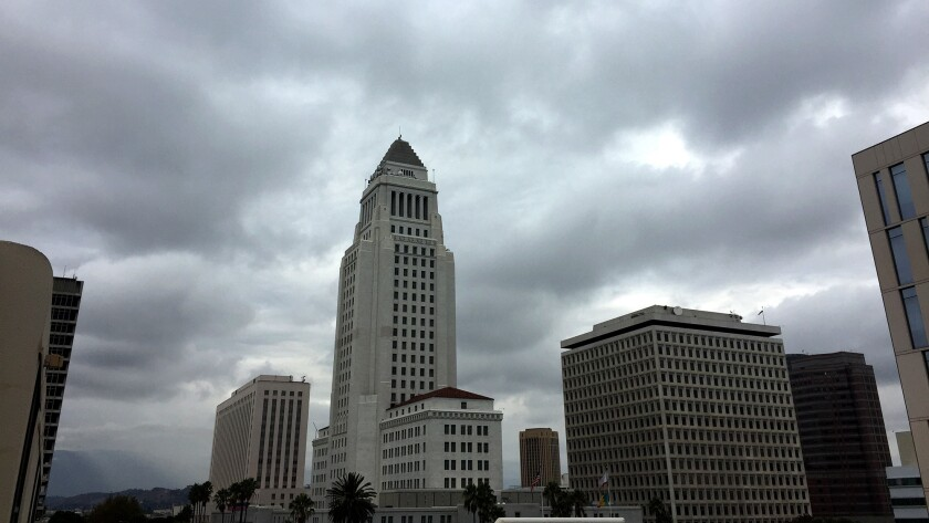 Overcast skies over Los Angeles City Hall in October.