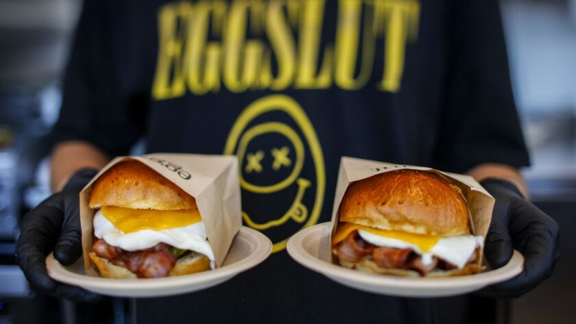 LOS ANGELES,CA --WEDNESDAY, JUNE 13, 2018--Sandwiches ready for pick-up, at Eggslut, at the Beverly