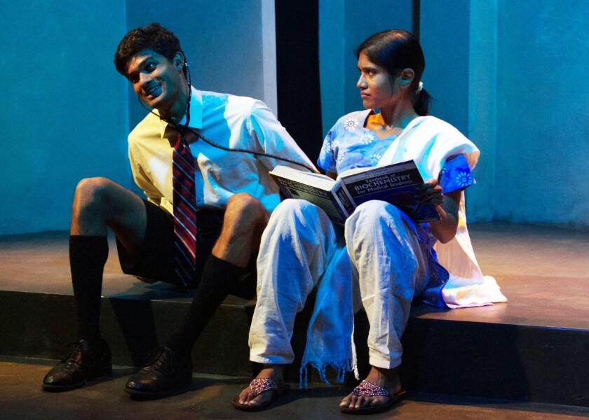 Ray Parikh and Anisha Adusumilli in Lauren Yee's 'Samsara' at Chance Theater