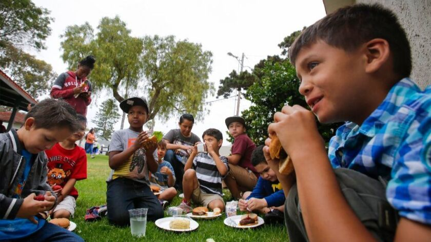 OCEANSIDE, CA: June 22, 2017 A group of boys from Friendly Children's Garden Preschool and Daycare i