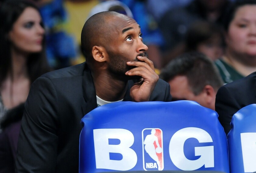 Kobe Bryant is expected to miss at least six after suffering an Achilles' tear on April 12.