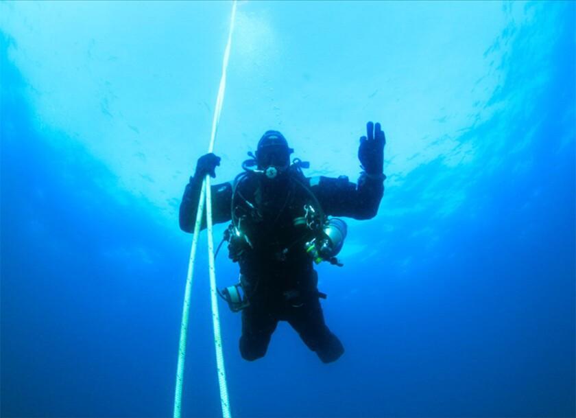 Tyler Stalter ascends after a dive.