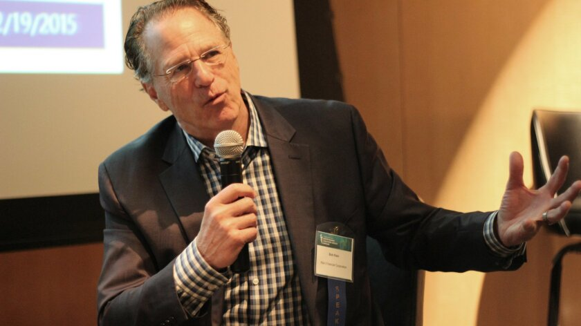 Bob Klein describes his vision of how to increase biomedical funding to hasten discovery and commercialization of disease treatments. He spoke Thursday, Feb. 19, at the annual UCSD Moores Cancer Center symposium.