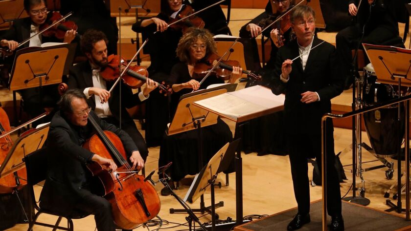 Yo-Yo Ma is soloist in Esa-Pekka Salonen's Cello Concerto, conducted by the composer with the Los Angeles Philharmonic at Walt Disney Concert Hall on Thursday night.