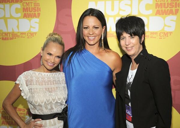 From left, actress Kristin Chenoweth, singer Sara Evans and songwriter Diane Warren attend.