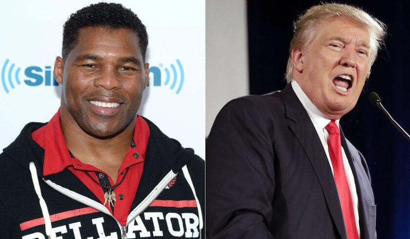 Former football star Herschel Walker supports Donald Trump for president.