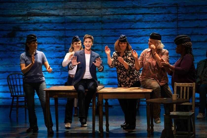 """Actors playing a flight crew onstage in the musical """"Come From Away."""""""