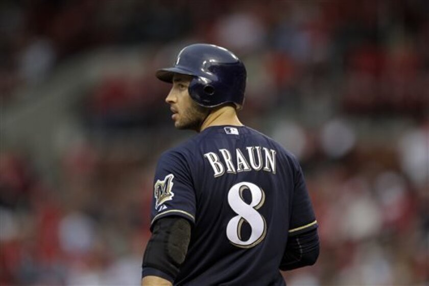 """File-This April 27, 2012 file photo shows Milwaukee Brewers' Ryan Braun preparing to bat during a baseball game against the St. Louis Cardinals  in St. Louis.   Braun, a former National League MVP , has been suspended without pay for the rest of the season and admitted he """"made mistakes"""" in violati"""