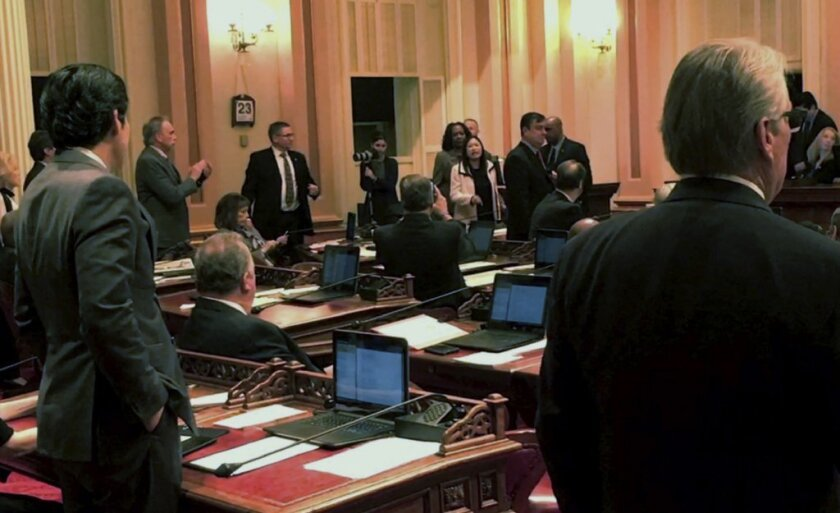 Sen. Janet Nguyen is removed from the Senate floor