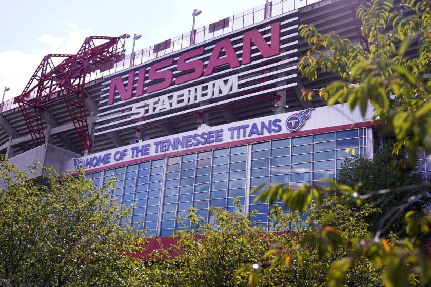 Nissan Stadium, home of the Tennessee Titans, is shown.