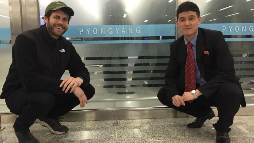 Reporter Jonathan Kaiman with his government minder Kim Jin Hyok.