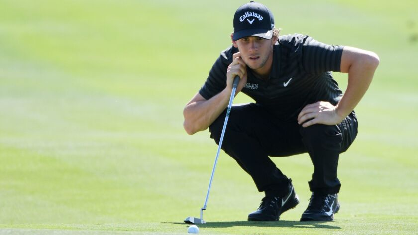 Thomas Pieters lines up a putt at No. 8 during the second round of the Abu Dhabi HSBC Golf Championship on Friday.