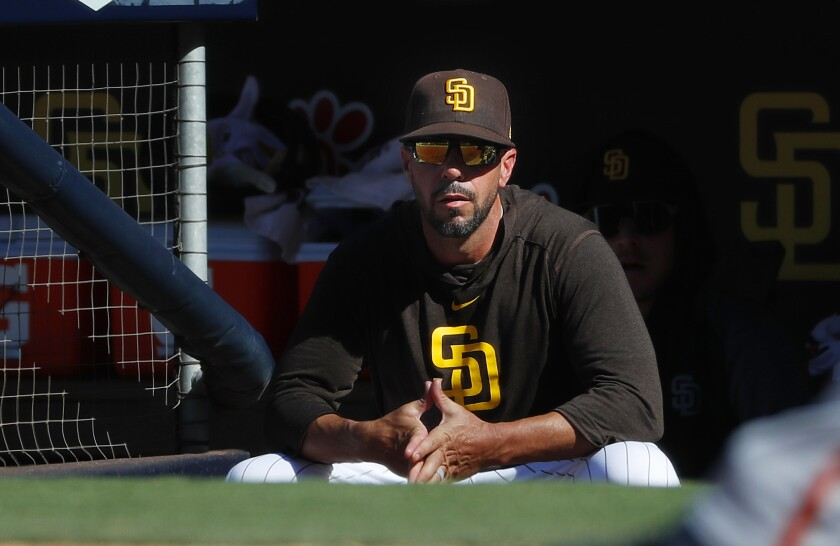 Padres manager Jayce Tingler looks on during a game against the San Francisco Giants on Thursday at Petco Park.