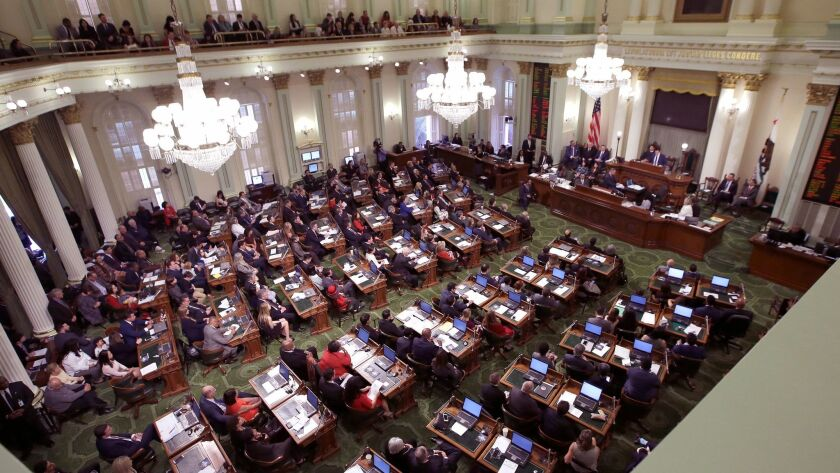 Members of the California Assembly convene during the legislative session in December.
