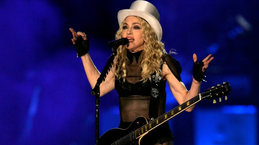 Madonna performing at Dodgers Stadium in 2008