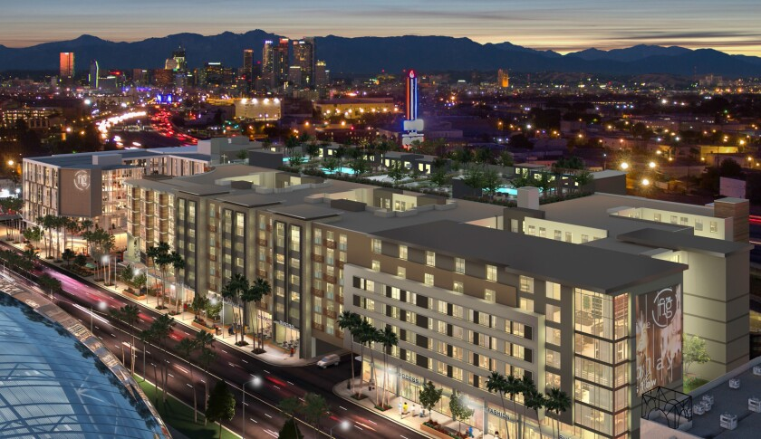 A rendering of The Fig, a development planned for downtown L.A.