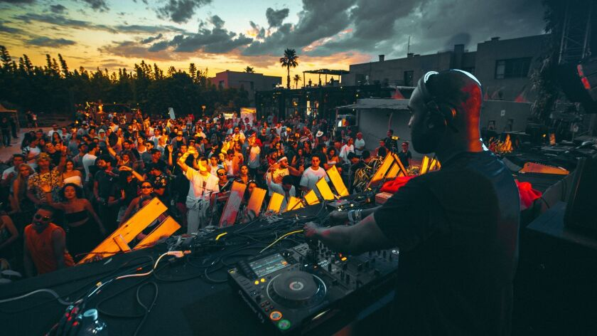 Virgil Abloh performs on the main stage of the Oasis Festival in Marrakech.